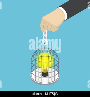 Flat 3d isometric businessman hand holding birdcage with light bulb of idea inside. Idea concept. - Stock Photo
