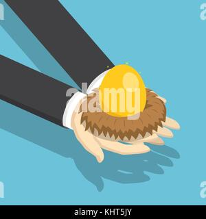 Flat 3d isometric businessman holding nest with golden egg. Investment and financial concept. - Stock Photo