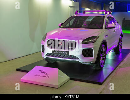 KIEV, UKRAINE - OCTOBER 27, 2017: White modern Jaguar E-PACE P300 on the art exhibition 'Jaguar. The Art of Performance' - Stock Photo