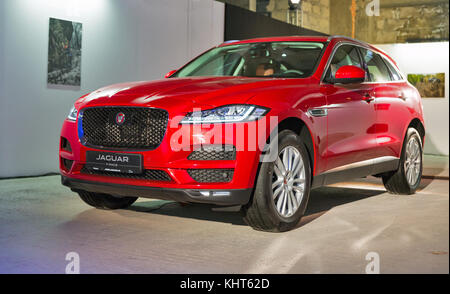 KIEV, UKRAINE - OCTOBER 27, 2017: Red modern Jaguar F-PACE on the art exhibition 'Jaguar. The Art of Performance' - Stock Photo