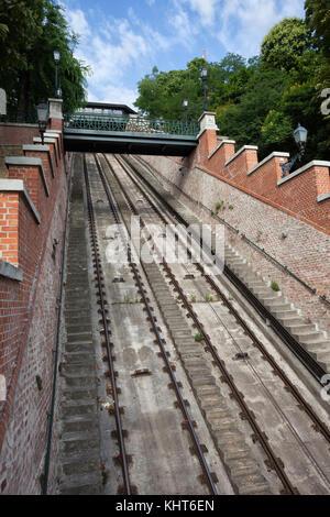 Hungary, Budapest, rails of Budapest Castle Hill Funicular (Budavari Siklo), city landmark - Stock Photo