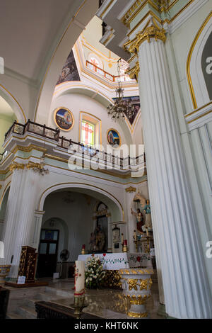 Mexico, State of Jalisco, Puerto Vallarta. El Centro, old downtown. Historic Church of Our Lady of Guadalupe interior. - Stock Photo