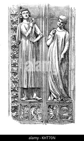 Vintage engraving. of Strasbourg Cathedral in France: detail of sculptures on the facade. The church was built in - Stock Photo
