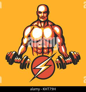 Bodybuilder in training pose with a dumbbell. Gym or fitness club emblem. Vector illustration - Stock Photo