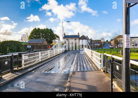 The swing bridge at Glasson Dock to allow access to the Basin, Lancashire, UK - Stock Photo
