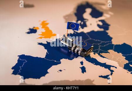 Padlock over EU map, symbolizing the EU General Data Protection Regulation or GDPR. Designed to harmonize data privacy - Stock Photo