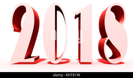 New Year theme on white ground and 2018 text - Stock Photo
