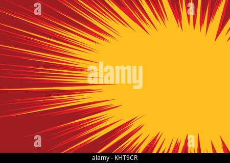 Red yellow explosion comic. Pop art retro vector illustration - Stock Photo