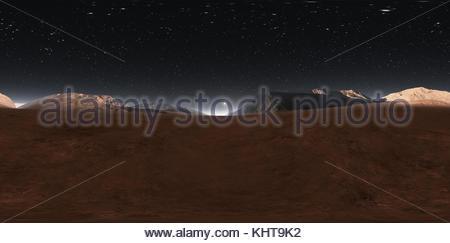 Panorama of Mars sunset, environment HDRI map. Equirectangular projection, spherical panorama. Martian landscape, - Stock Photo