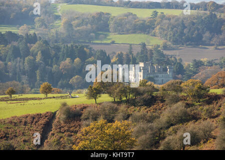 Eastnor Castle in autumn from Eastnor Park, Herefordshire, England, UK - Stock Photo