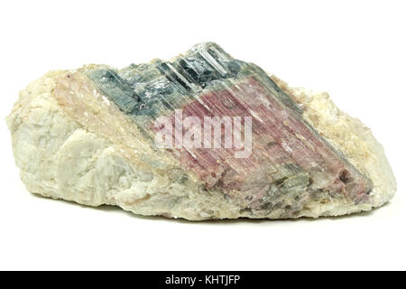 bicolor tourmaline on matrix from Paraiba/ Brazil isolated on white background - Stock Photo