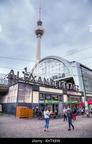 BERLIN - AUGUST 21, 2017: Alexanderplatz with people on August 21, 2017 in Berlin, Germany. It's a large public - Stock Photo
