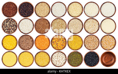 Collection of different groats isolated on white background. Top view of peas, cereals, rice, legumes, beans and - Stock Photo