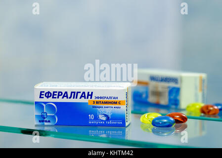 Kiev/Ukraine - August 27, 2017 - Efferalgan with vitamin C contains paracetamol and may be used to relieve pain - Stock Photo