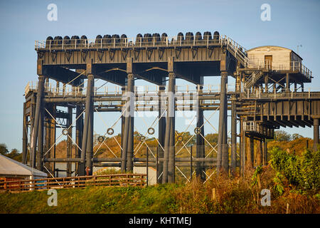 Anderton Boat Lift that leads to the River Weaver on the Trent and Mersey Canal, in Northwich, Cheshire - Stock Photo