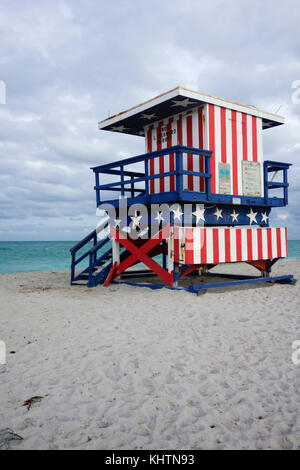 Lifeguard hut in US national colours, South Beach, Miami.