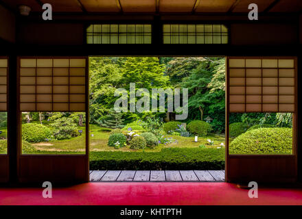 Kyoto Japan - October 2017 - Unryu-in, Kyoto, is open to the public once a year. In the room called Seijo-no-ma, - Stock Photo