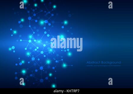 Abstract molecule background, genetic and chemical compounds, connected lines with dots, medical, technological - Stock Photo