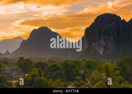 Viewpoint and beautiful sunset at Vang Vieng, Laos. - Stock Photo