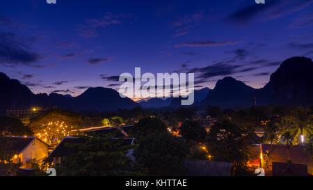 Viewpoint and beautiful night scenic at Vang Vieng, Laos. - Stock Photo