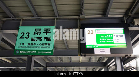 Hong Kong - Mar 31, 2017. Information boards at bus stop in Hong Kong China. Hong Kong is an important hub in East - Stock Photo
