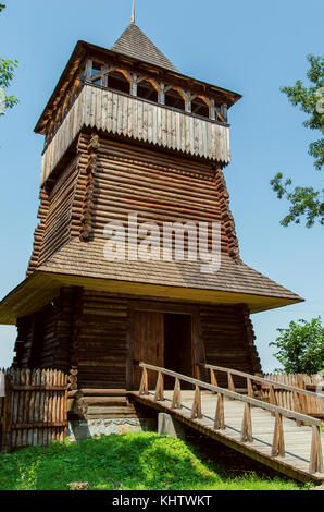 wooden tower in castle like old - Stock Photo