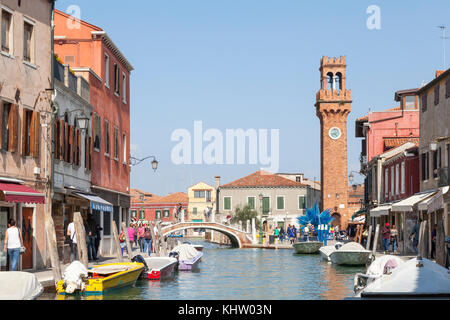 View up Rio dei Vetrai towards Campo San Stefano and the bell tower, Murano, Venice, Italy - Stock Photo