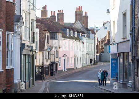 Period buildings on Lewes High Street, Lewes, East Sussex, England, United Kingdom - Stock Photo