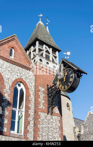 Clock and bell tower of St. Michael-in-Lewes Church, High Street, Lewes, East Sussex, England, United Kingdom - Stock Photo