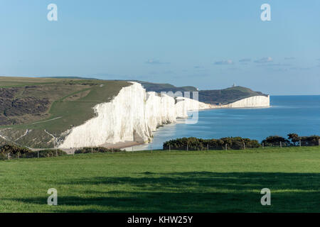 Seven Sisters Cliffs from Seaford Head Nature Reserve, Seaford, East Sussex, England, United Kingdom - Stock Photo
