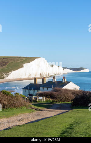 Seven Sisters Cliffs and Coastguard Cottages, Cuckmere Haven, Seaford Head Nature Reserve, Seaford, East Sussex, - Stock Photo