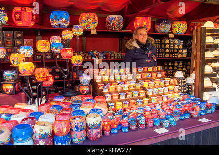 Candle holder stall at Christmas in Leicester Square festival, Leicester Square, West End, City of Westminster, - Stock Photo
