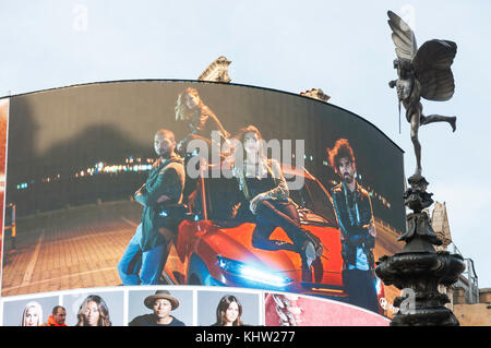 Neon signs and Statue of Anteros in Piccadilly Circus, Piccadilly, West End, City of Westminster, Greater London, - Stock Photo