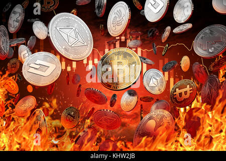 Different cryptocurrency coins are falling into the fire. Decline or market crash concept. 3D rendering - Stock Photo