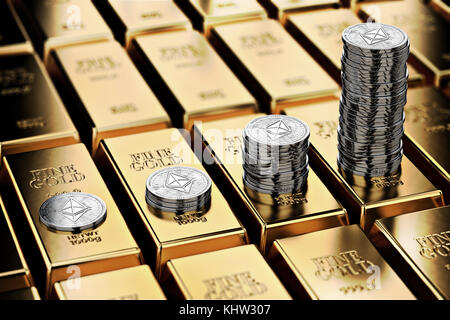 Ethereum piles on rows of gold bars (gold ingots). Ethereum keep growing and it is as desirable as gold - concept. - Stock Photo