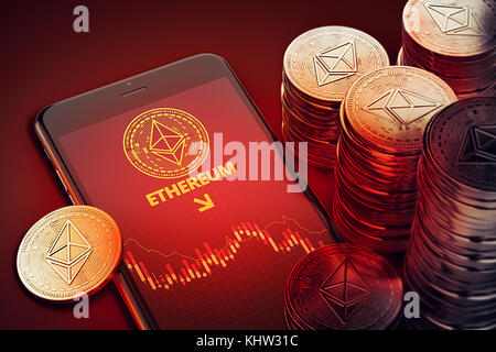 Smartphone with Ethereum decline chart symbol on-screen among piles of Ether. Ethereum decline concept. 3D rendering - Stock Photo
