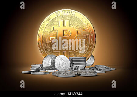 Golden bitcoin surrounded by silver ethereum coins on gently lit dark background. 3D rendering. Ethereum growth, - Stock Photo