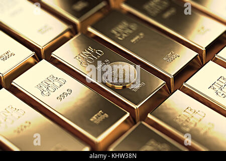 Bitcoin laying on stacked gold bars (gold ingots) rendered with shallow depth of field. Bitcoin as desirable as - Stock Photo