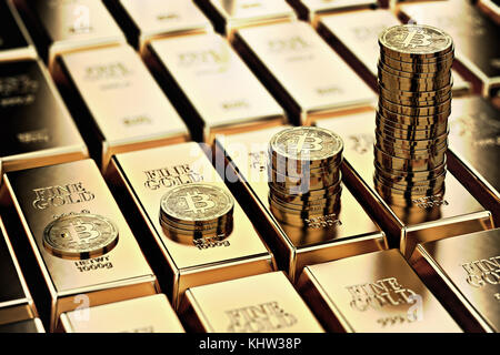 Bitcoin piles on rows of gold bars (gold ingots). Bitcoin keep growing and it is as desirable as gold concept. 3D - Stock Photo