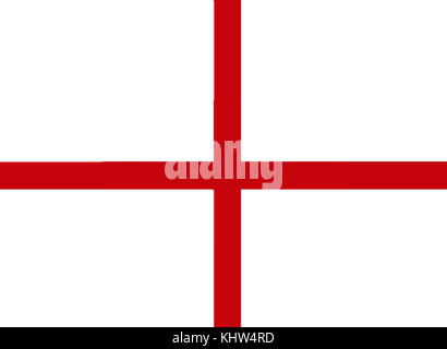 Illustration depicting the Flag of England derived from St. George's Cross. The association of the red cross as - Stock Photo
