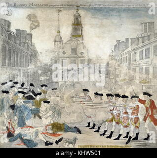 Engraving with watercolour depicting a sensationalised portrayal of the skirmish, later to become know as the 'Boston - Stock Photo