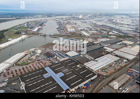 Aerial image at Port of Antwerp with a view on Vijfde Havendonk - Stock Photo