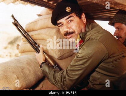 Photograph of Saddam Hussein (1937-2006) fifth President of Iraq. Dated 20th Century - Stock Photo