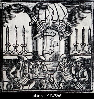 Woodcut illustration depicting the celebration of Tisha B'Av, an annual fast day in Judaism commemorating the anniversary - Stock Photo