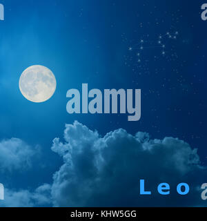full moon in the night sky with design zodiac constellation Leo - Stock Photo