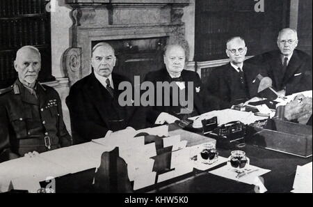 Photograph of Prime Minister Sir Winston Churchill with the Commonwealth Prime Ministers. Sir Winston Leonard Spencer - Stock Photo
