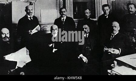 Photograph of Mikhail Rodzianko alongside other leaders of the 1917 Russian Revolution. Mikhail Rodzianko (1859 - Stock Photo
