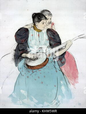 Painting titled 'The Banjo Lesson' by Mary Cassatt. Mary Cassatt (1844-1926) an American painter and printmaker. - Stock Photo