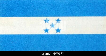 Illustration depicting the National flag of Honduras. Dated 20th Century - Stock Photo