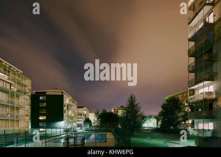 Apartment blocks at night, Chambery, Rhone-Alpes, France - Stock Photo